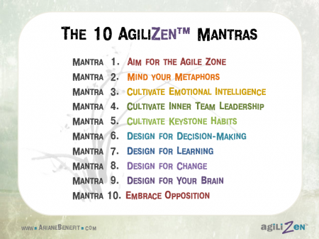 The AgiliZen 10 Mantras for cultivating self-acceptance, emotional resilience and keystone habits that exponentially enhance both productivity and quality of life.